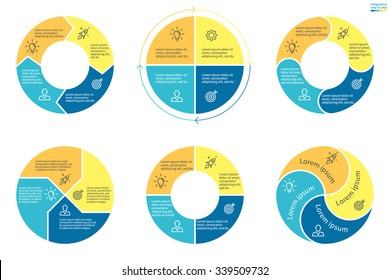 Circular infographics. Pie charts, graphs, diagrams with 4 steps, options, parts, processes. Vector business templates in blue and yellow for presentation.