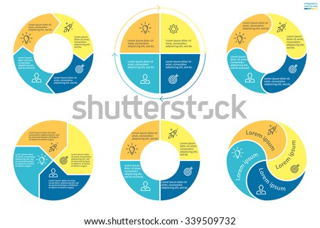 Circular Infographics Pie Charts Graphs Diagrams Stock Vector