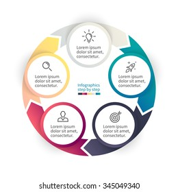 Circular infographics step by step. Chart with 5 options, parts, processes. Vector business template for presentation.