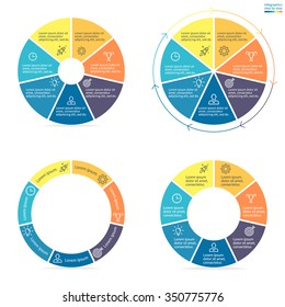 Circular infographics step by step with colored sections. Pie charts of different shapes. Chart, diagram with 7 steps, options, parts, processes. Vector circle template in blue and yellow.