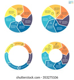Circular infographics step by step with colored sections. Pie charts of different shapes with arrows. Chart, diagram with 7 steps, parts, processes. Vector circle template in blue and yellow.