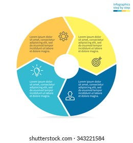 Circular infographics step by step. Pie chart with arrows. Flat pie chart with 4 steps, options, parts, processes. Vector business template in blue and yellow for presentation.