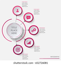 Circular infographics vertically oriented in pink tones