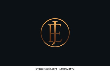 A circular JE EJ logo design template