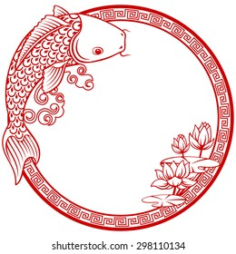 Circular Koi carp background with copy space in traditional Chinese papercut style. Vector illustration.