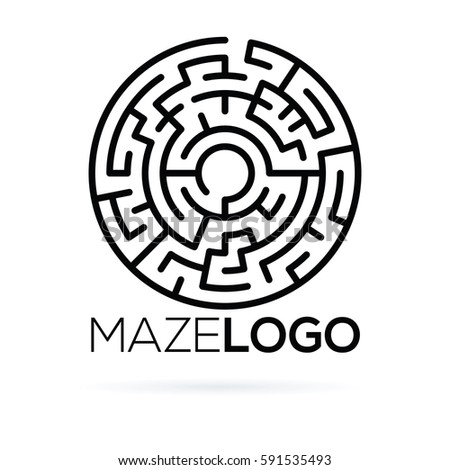 Circular Labyrinth Logo Template Stock Vector (Royalty Free ...