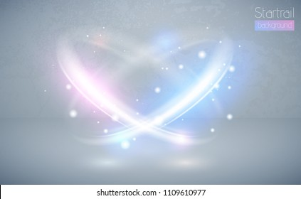 Circular lens flare blue and pink light effect with sparks. Abstract cross ellipse. Rotational glow line. Power energy. Glowing ring trace background. Vector circle frame. Magic sparkling swirl trail.