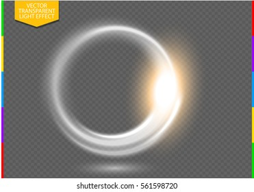 Circular lens flare transparent light effect. Abstract ellipse border. Luxury shining rotational glow line. Power energy element. Glowing ring trace background. Round shiny vector circle swirl trail