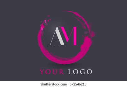 AM Circular Letter Brush Logo. Pink Brush with Splash Concept Design.