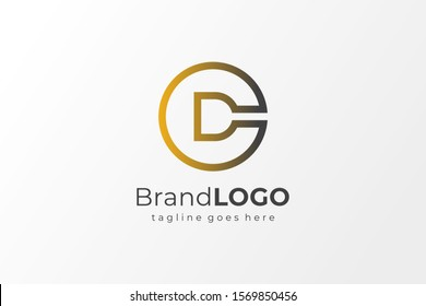 Circular Letter C and D or D and C Logo. Flat Line Vector Logo Design Template Element