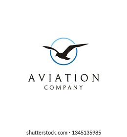 Circular Line with Flying Bird vector logo design