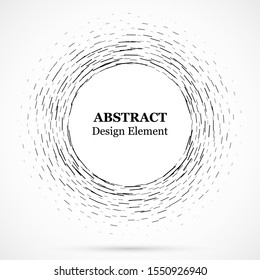 Circular lines.Set of spiral lines.Assymetric radial element.Linear drawing. Vector illustration pattern.Monochrome concentric background.