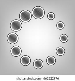 Circular loading sign. Vector. Pencil sketch imitation. Dark gray scribble icon with dark gray outer contour at gray background.
