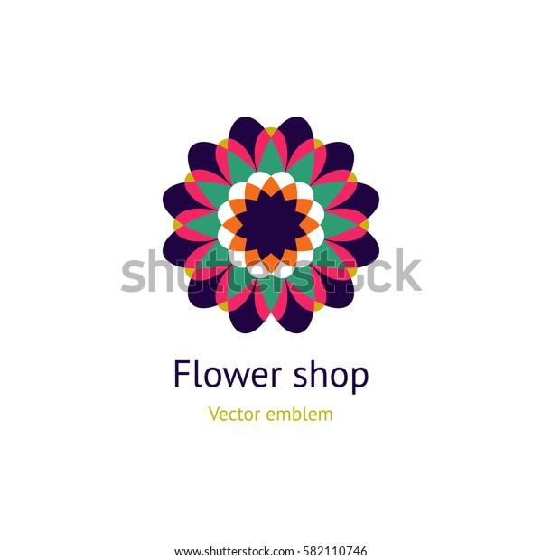 Circular logo for boutique, flower shop, business, interior. Company mark, emblem, element. Simple geometric mandala logotype. Kaleidoscope big bud. Surround abstract blossom.