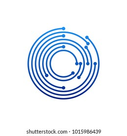 Circular logo icon. Link icon with dot. Circuit element.