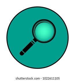 Circular magnifying glass icon. Green, isolated on white