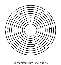 Circular maze black on a white background