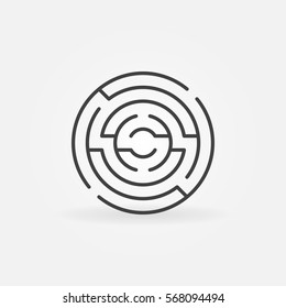 Circular maze icon. Vector minimal round labyrinth concept sign in thin line style
