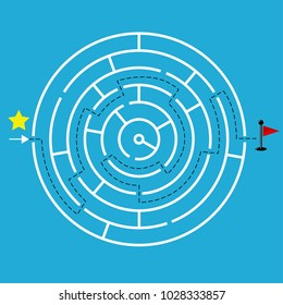 Circular maze with one way to entrance and one way to exit. Flat design, vector illustration.
