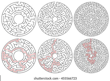 Circular mazes. 3 version with different complexity