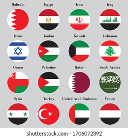 The circular Middle East Asian flag tells the name of each country on a blue background.