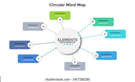 Circular mind map or scheme with eight colorful rectangular elements. Modern infographic design template. Simple flat vector illustration for visualization of business information, presentation.