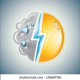 Circular mixture of sun, cloud and lightning bolt