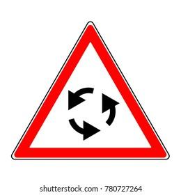 A circular motion indicator. Road signs.
