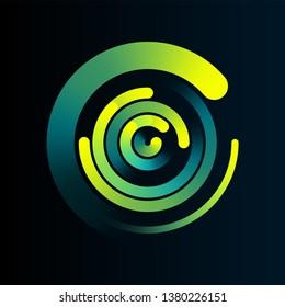 Circular network data connection logo vector background