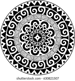 Circular ornament. Polynesian ornament. Polynesian tattoo