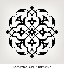 Circular pattern in arabesque style. Mandala. Round floral ornament.