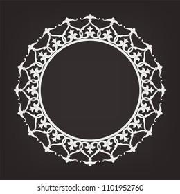 Circular pattern in arabesque style. Mandala. Round floral frame.