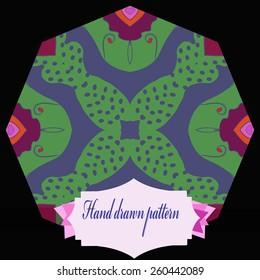 Circular pattern of colored floral motif. Hand drawn.