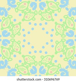 Circular pattern of delicate striped motif, ellipses, doodles, fishes. Hand drawn.
