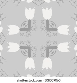 Circular   pattern of floral motif, branches, flowers, spirals, copy space. Hand drawn.