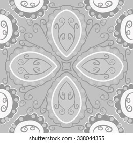 Circular   pattern  of floral  motif, doodles,  spirals,ellipses, branches, waves. Hand drawn.