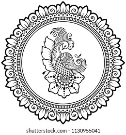 Circular pattern in form of mandala with  bird template - Peacock for Henna, Mehndi, tattoo, decoration. Decorative ornament in ethnic oriental style. Coloring book page.