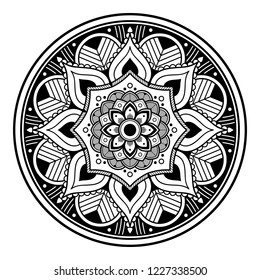 Circular pattern in form of mandala for coloring book, greeting card, phone case print, etc. Anti-stress therapy patterns, coloring for adults. Hand drawn background, vector isolated on white. EPS10