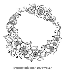 Circular pattern in form of mandala for Henna, Mehndi, tattoo, decoration -frame. Decorative ornament in ethnic oriental style. Coloring book page.