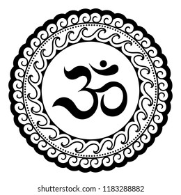 Circular pattern in form of mandala for Henna, Mehndi, tattoo, decoration. Decorative ornament in oriental style with ancient Hindu mantra OM.