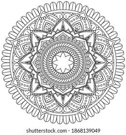 Circular pattern in form of mandala for Henna, Mehndi, tattoo, Decoration. Decorative ornament in ethnic oriental style. Coloring book page. Vintage decorative elements.