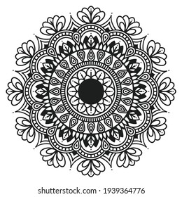 Circular pattern in form of mandala for Henna, Mehndi, tattoo, decoration. Decorative ornament in ethnic oriental style. Coloring book page. ornamental round lace ornament.