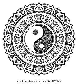 Yin Yang Mandala Tattoo Design
