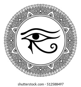 Circular pattern in form of mandala for Henna, Mehndi, tattoo, decoration. Decorative ornament in oriental style with ancient symbol left Eye of Horus. Coloring book page.
