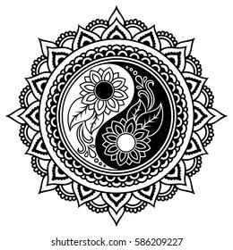 Hand Drawn Flowers Mandalas Henna Paisley Stock Vector Royalty Free