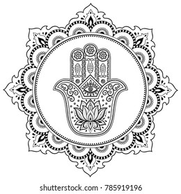 Circular pattern in form of mandala for Henna, Mehndi, tattoo, decoration. Decorative ornament in oriental style with Hamsa hand drawn symbol and lotus. Coloring book page.