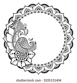Circular pattern in form of mandala with peacock for Henna, Mehndi, tattoo, decoration. Decorative ornament in ethnic oriental style. Coloring book page.