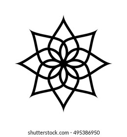 Circular pattern. Geometric icon. Seven pointed star on white background. Modern style. Vector illustration. Simple symbol.Mandala. Lotus.Logo. Fashion graphic design. Smooth shape.