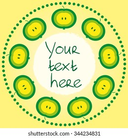 Circular pattern of green apples and dots with place for text