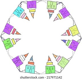 Circular pattern with houses